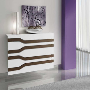 Modern Floating White Radiator Heater Cover MINIMAL STRIPE design with Integrate shelf Ref RCMN252-Distinct Designs (London) Ltd