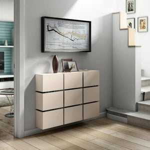 Contemporary Floating Radiator Heater Cabinet Cover 9 CUBES design with Integrate Shelf 70 to 180cm-Distinct Designs (London) Ltd