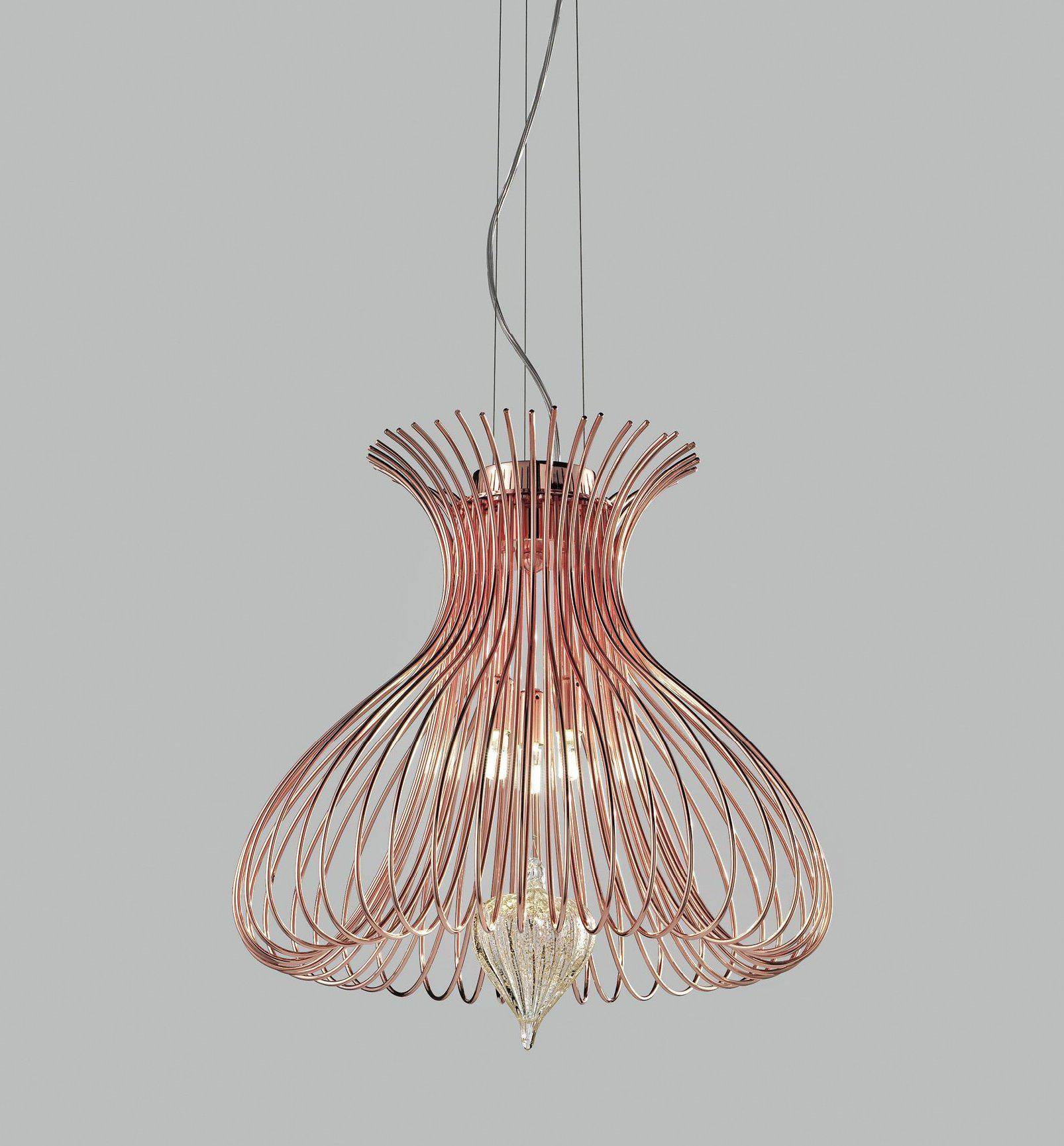 Contemporary Metal Pendant Ceiling Light Vortex Design Crafted in wire 40cm diameter with 3 Lamps-Copper-Distinct Designs (London) Ltd