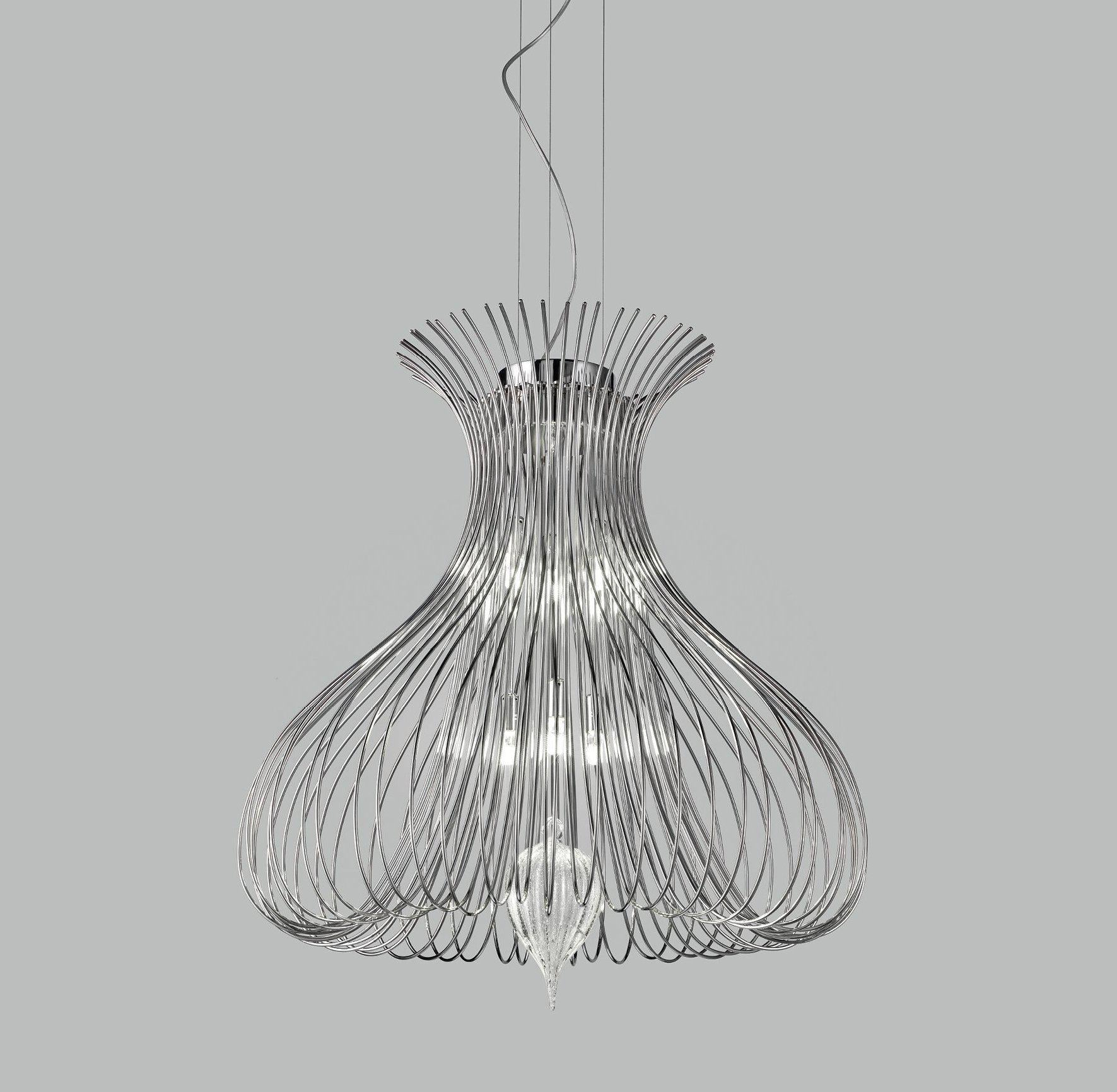 Contemporary Metal Pendant Ceiling Light Vortex Design Crafted with Wire 60cm diameter with 6 Lamps-Chrome-Distinct Designs (London) Ltd