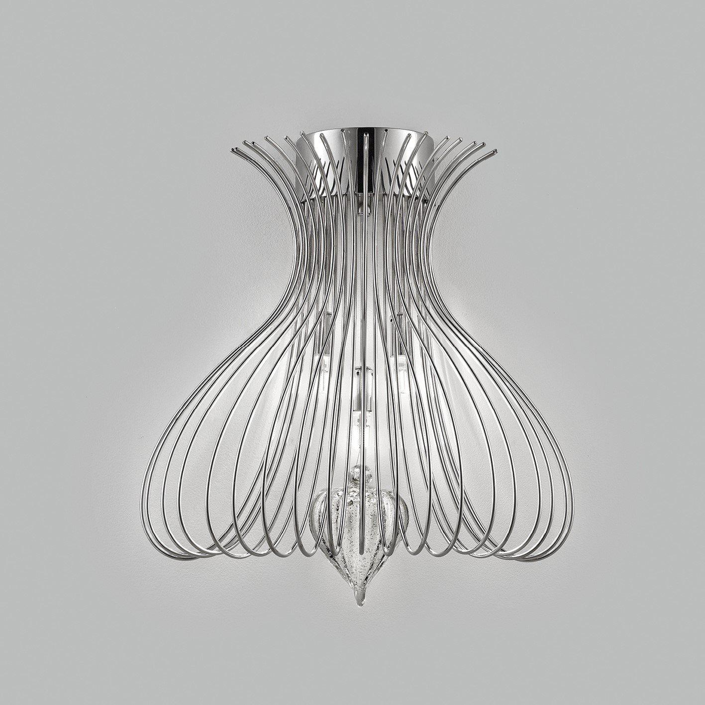 Contemporary Vortex Design Open End Wire Crafted Metal Side Wall Light 40cmL x 30cmH with 3 Lamps-Chrome-Distinct Designs (London) Ltd