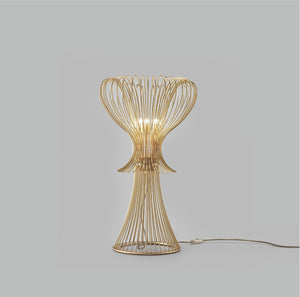 Contemporary Vortex Design Open Top Wire Crafted Metal Table Lamp 40cm diameter 50cm with 3 Lights-Gold-Distinct Designs (London) Ltd