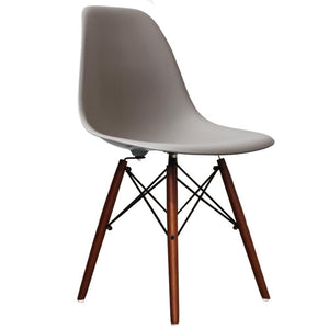 Cassic Mid-Century Design Dining Office Light Grey Chair with braced Wooden Legs-Distinct Designs (London) Ltd