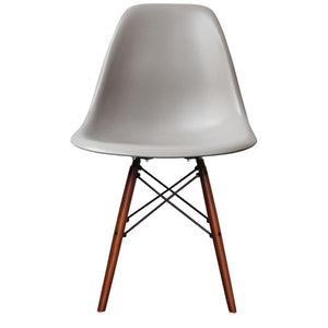 Cassic Mid-Century Design Dining Office Light Grey Chair with braced Wooden Legs-Walnut-Distinct Designs (London) Ltd