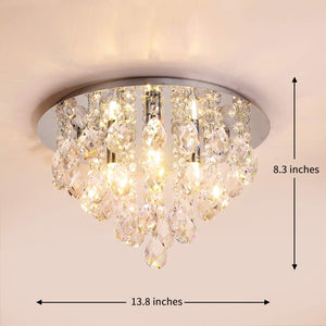 Crystal Droplets Chandelier Flush Mount Ceiling Light Round 35cm Chrome Mirror base 3 G9 LED bulbs-CRYSTAL 35Dx 21Hcm-Distinct Designs (London) Ltd