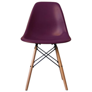 Classic Mid-Century Design Dining Office Deep Plum Purple Chair with braced Wooden Legs-Natural Beach-Distinct Designs (London) Ltd