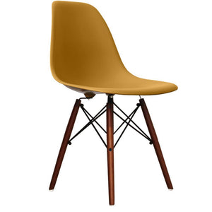 Classic Mid-Century Design Dining Office Gold Yellow Chair with braced Wooden Legs-Distinct Designs (London) Ltd
