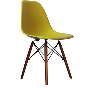 Classic Mid-Century Design Dining Office Mustard Yellow Chair with braced Wooden Legs-Distinct Designs (London) Ltd