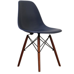 Classic Mid-Century Design Dining Office Navy Blue Chair with braced Wooden Legs-Distinct Designs (London) Ltd