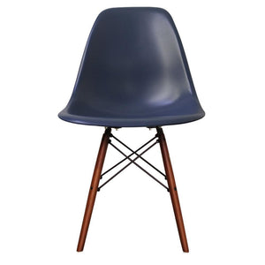 Classic Mid-Century Design Dining Office Navy Blue Chair with braced Wooden Legs-Walnut-Distinct Designs (London) Ltd