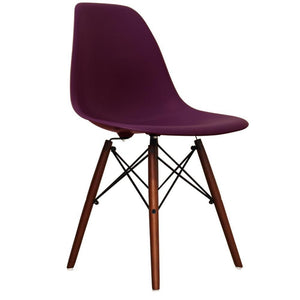 Classic Mid-Century Design Dining Office Deep Plum Purple Chair with braced Wooden Legs-Distinct Designs (London) Ltd