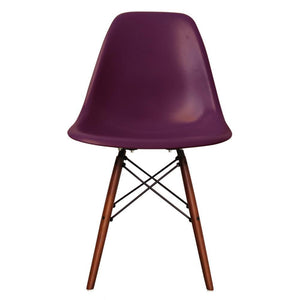 Classic Mid-Century Design Dining Office Deep Plum Purple Chair with braced Wooden Legs-Walnut-Distinct Designs (London) Ltd