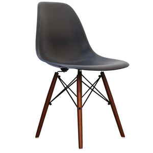Classic Mid-Century Design Dining Office Slate Grey Chair with braced Wooden Legs-Distinct Designs (London) Ltd