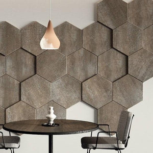 Decorative HEXAGONAL wall panels with varied thickness for textured 3D design, pack of 3-Vintage Textone Brown-Distinct Designs (London) Ltd