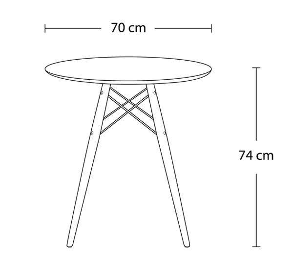 ... Dimensions Of Classic Mi Century Design Dining Office White Round 70cm  Diameter Dining Table Natural