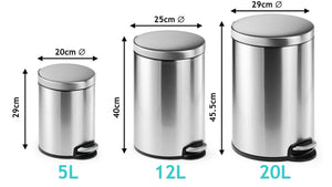 Round Pedal Waste Rubbish Bin with Smooth Silent Close Lid 5L,12L or 20L in coated Stainless Steel-Distinct Designs (London) Ltd