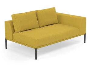 Modern 2 Seater Chaise Lounge Style Sofa with Left Armrest in Vibrant Mustard Yellow Fabric-Distinct Designs (London) Ltd