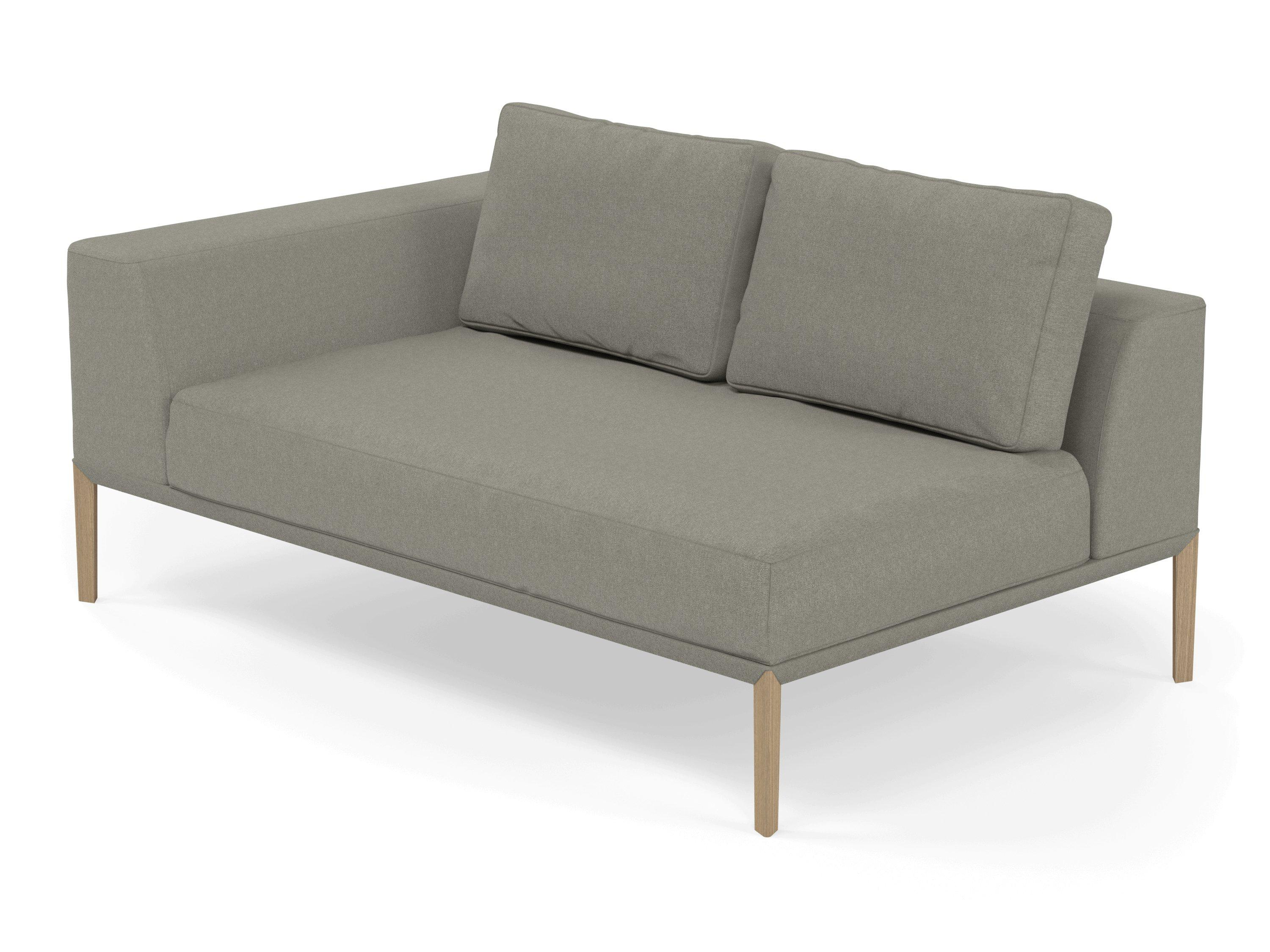 Modern 2 Seater Chaise Lounge Style Sofa with Right Armrest in Silver
