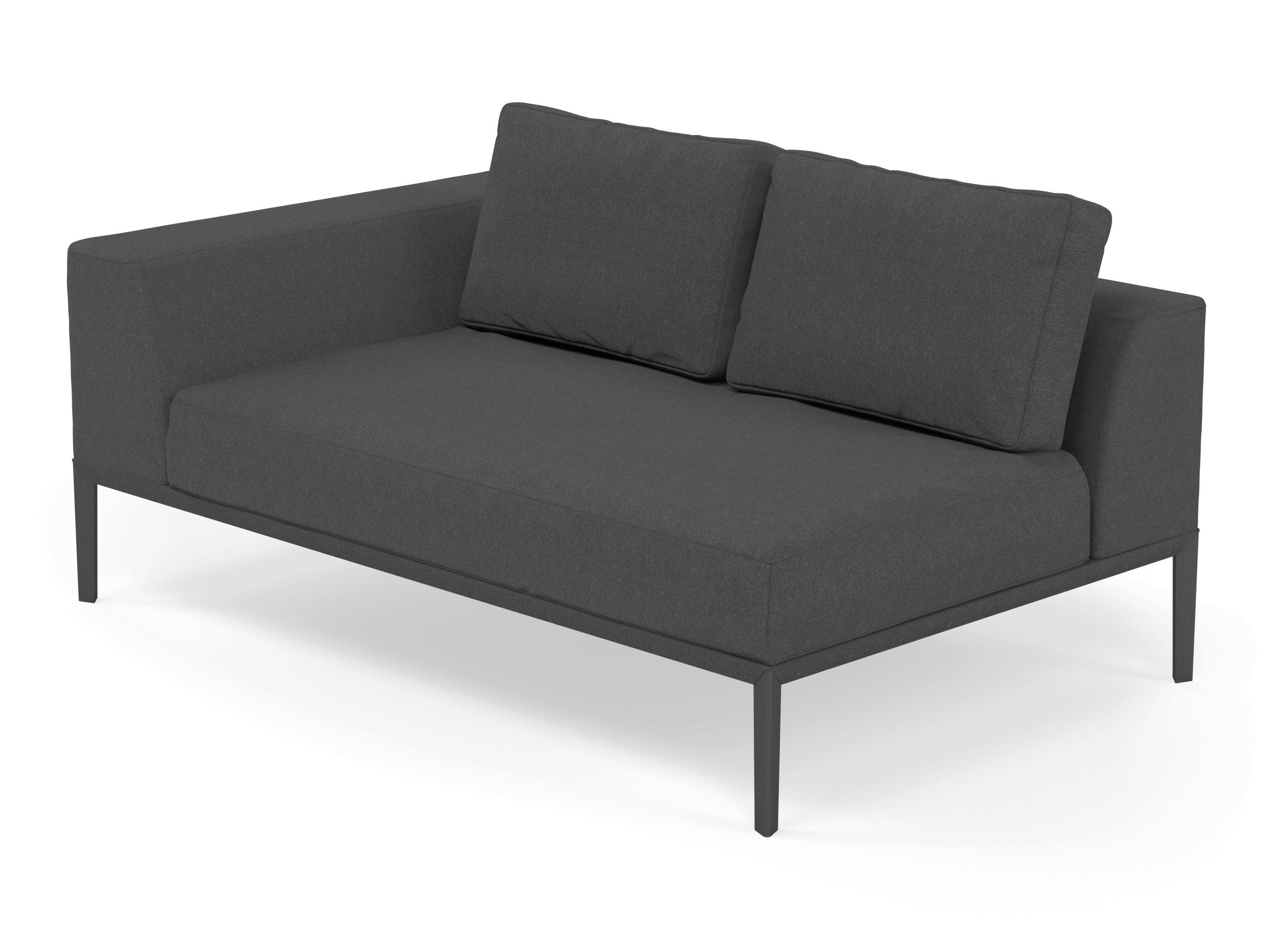 Modern 2 Seater Chaise Lounge Style Sofa with Right Armrest in Slate Grey  Fabric
