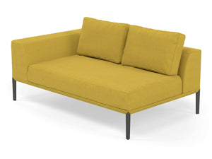 Modern 2 Seater Chaise Lounge Style Sofa with Right Armrest in Vibrant Mustard Yellow Fabric-Distinct Designs (London) Ltd