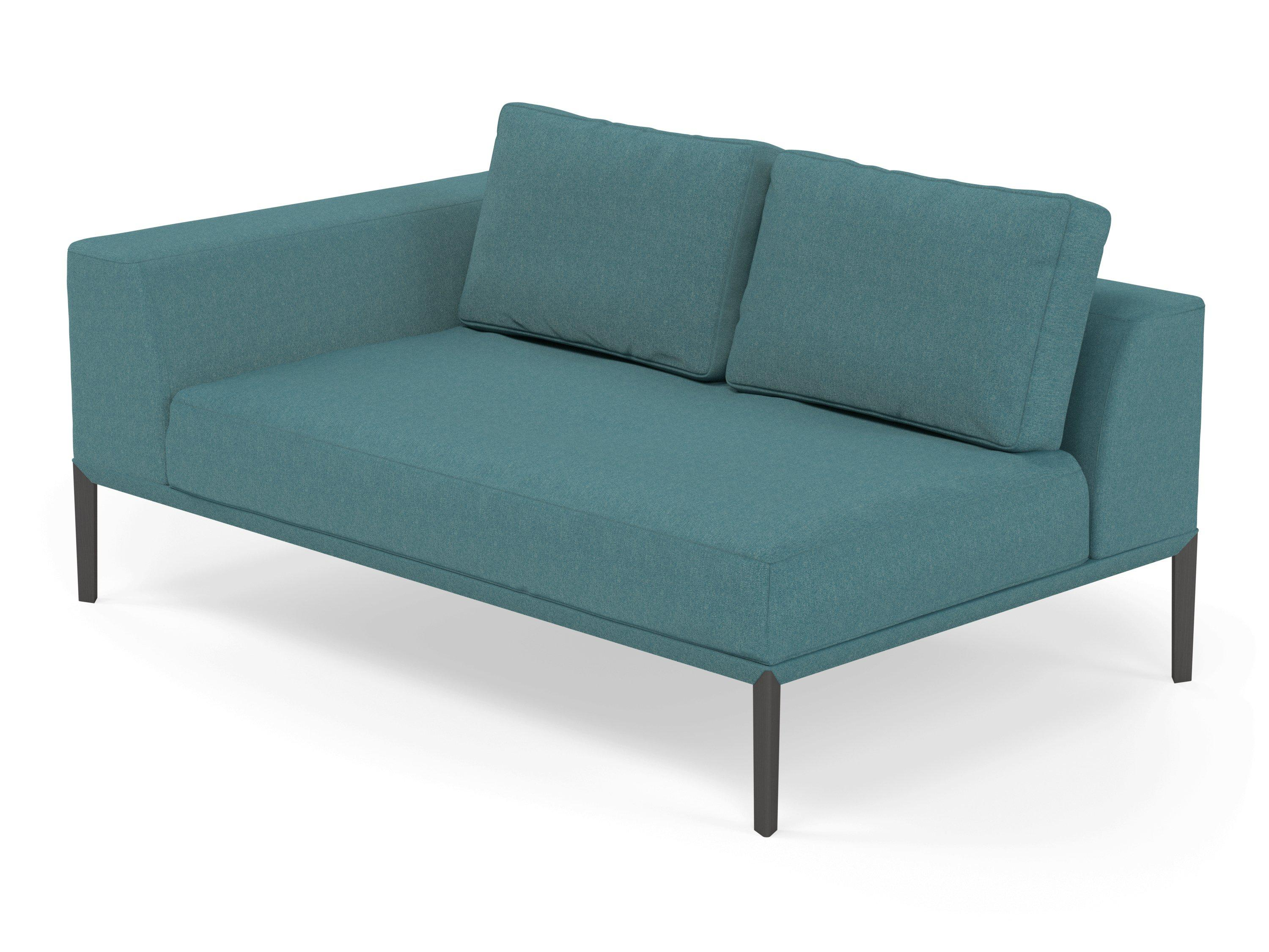 Modern 2 Seater Chaise Lounge Style Sofa with Right Armrest in Teal Bl