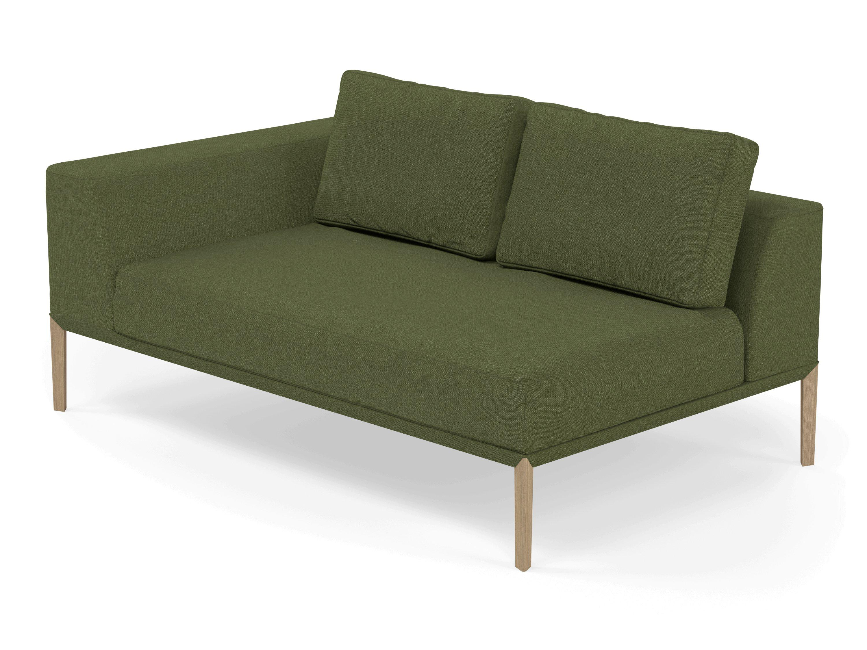 Modern 2 Seater Chaise Lounge Style Sofa with Right Armrest in Seaweed  Green Fabric
