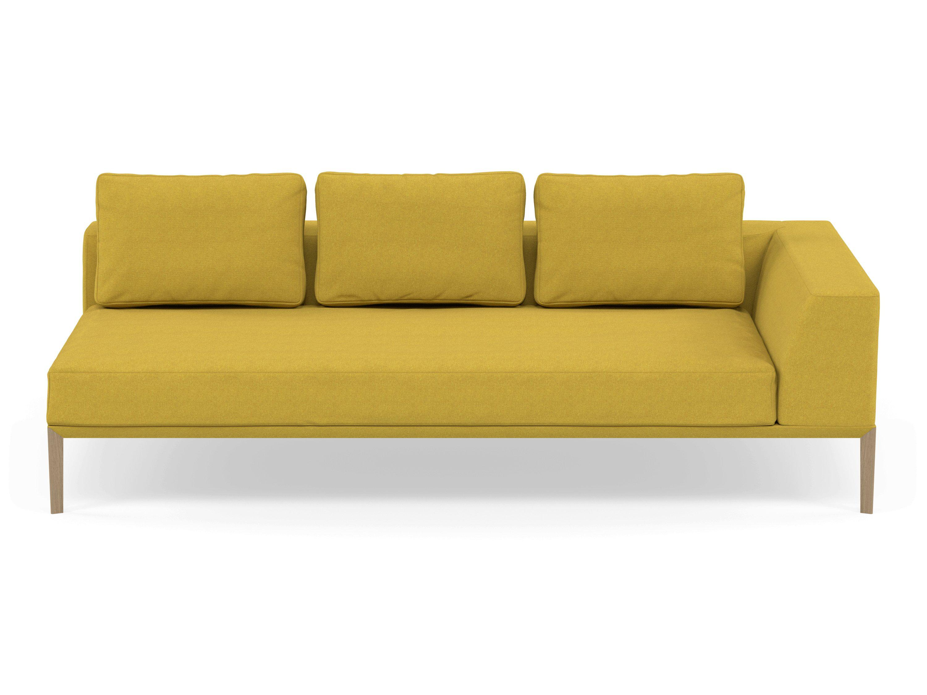 Wondrous Modern 3 Seater Chaise Lounge Style Sofa With Left Armrest In Vibrant Mustard Fabric Theyellowbook Wood Chair Design Ideas Theyellowbookinfo