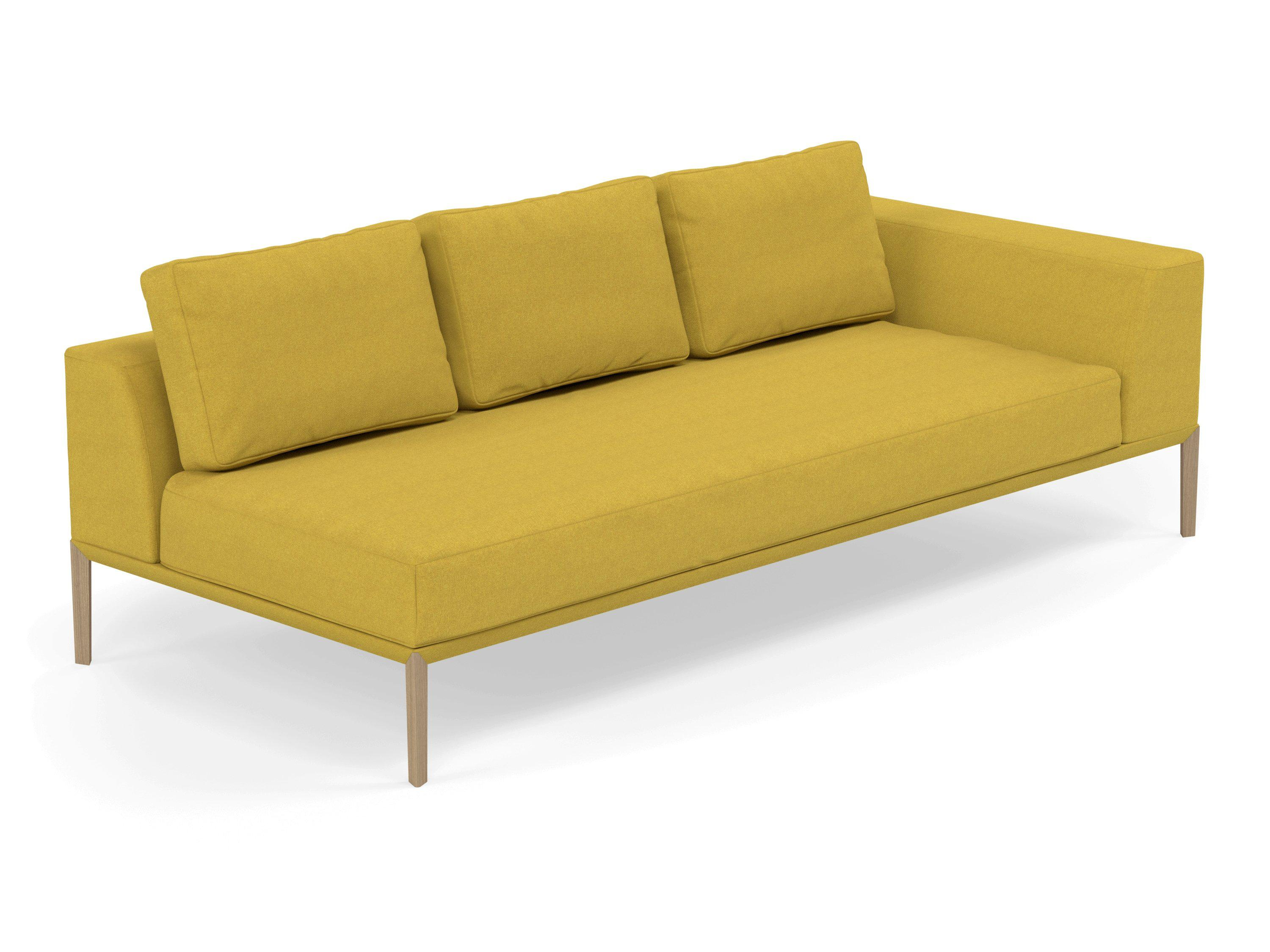 Incredible Modern 3 Seater Chaise Lounge Style Sofa With Left Armrest In Vibrant Mustard Fabric Theyellowbook Wood Chair Design Ideas Theyellowbookinfo