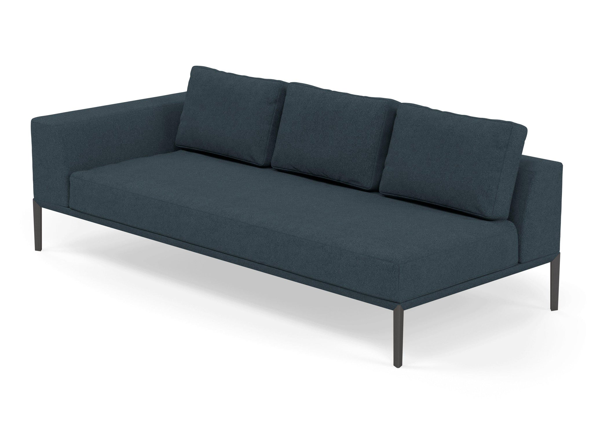 Modern 3 Seater Chaise Lounge Style Sofa With Right Armrest In Denim B Distinct Designs London Ltd