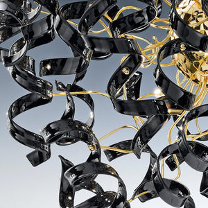 Abstract Glass Ribbon Ceiling Pendant TWO Circular Globes 70cm diameter 2 x 6 centre cluster Lamps-Gold-Black-Distinct Designs (London) Ltd