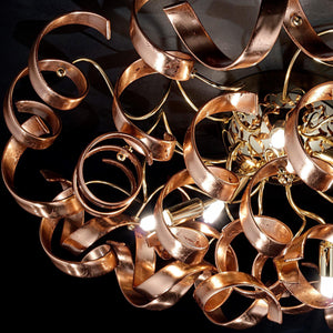 Abstract Glass Ribbon Ceiling Pendant TWO Circular Globes 70cm diameter 2 x 6 centre cluster Lamps-Gold-Copper-Distinct Designs (London) Ltd