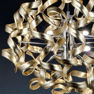 Abstract Glass Ribbon Ceiling Light Pendant 200cm Long Cylinder Cluster 50cm diameter 4 top lamps-Chrome-Gold-Distinct Designs (London) Ltd