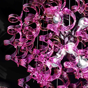 Abstract Glass Ribbon Ceiling Pendant TWO Circular Globes 70cm diameter 2 x 6 centre cluster Lamps-Gold-Magenta-Distinct Designs (London) Ltd