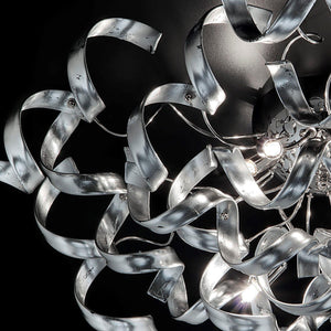 Abstract Glass Ribbon Ceiling Light Pendant 110cm Long Cylinder Cluster 50cm diameter 4 top lamps-Chrome-Silver-Distinct Designs (London) Ltd