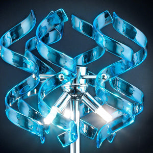 Abstract Glass Ribbon Ceiling Light Pendant 200cm Long Cylinder Cluster 50cm diameter 4 top lamps-Chrome-Turquoise-Distinct Designs (London) Ltd