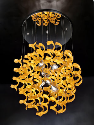 Abstract Glass Ribbons Ceiling Pendant Light 70cm diameter Circular Globe shape with 6 centre Lamps-Distinct Designs (London) Ltd