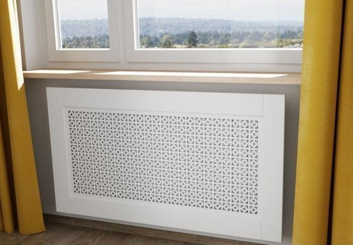 Elegant White Removable Radiator Heater Covers with Classic CUBE decorative grille screening panel-Distinct Designs (London) Ltd