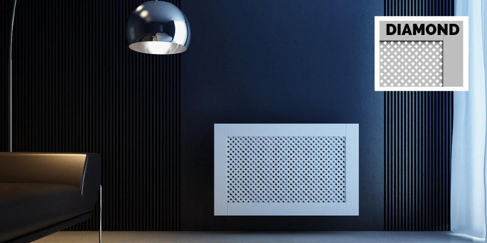 Elegant White Removable Radiator Heater Covers with Classic DIAMOND decorative grille screen panel-Distinct Designs (London) Ltd