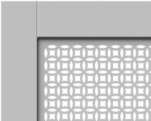 Elegant White Removable Radiator Heater Covers with Classic ELLIPSE decorative grille screen panel-Distinct Designs (London) Ltd