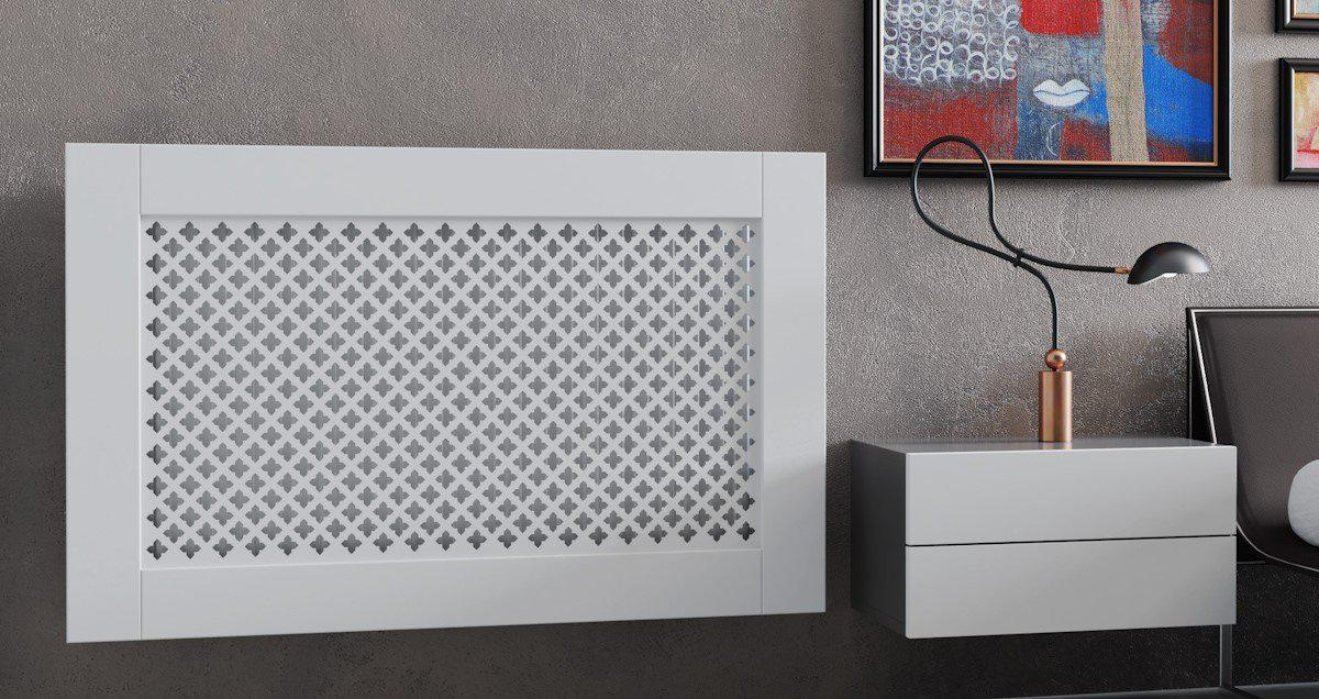 Elegant White Removable Radiator Heater Covers with Classic GEM decorative grille screening panel-Distinct Designs (London) Ltd