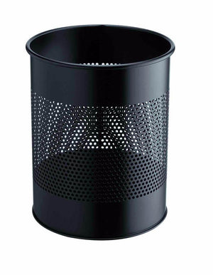 Classic Round Metal Waste Paper Basket 15L with 165mm Decorative Perforation in the middle-Black-Distinct Designs (London) Ltd