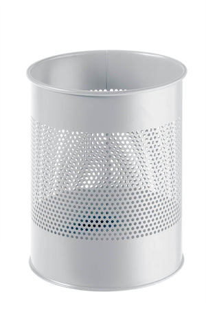 Classic Round Metal Waste Paper Basket 15L with 165mm Decorative Perforation in the middle-Grey-Distinct Designs (London) Ltd