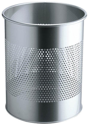 Classic Round Metal Waste Paper Basket 15L with 165mm Decorative Perforation in the middle-Silver-Distinct Designs (London) Ltd