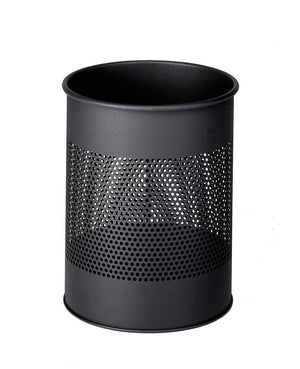 Classic Round Metal Waste Paper Basket 15L with 165mm Decorative Perforation in the middle-Slate Grey-Distinct Designs (London) Ltd
