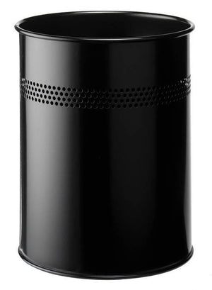 Classic Round Metal Waste Paper Basket 15L with 30mm Decorative Perforation at the top-Black-Distinct Designs (London) Ltd