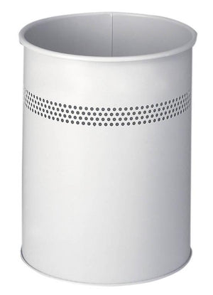 Classic Round Metal Waste Paper Basket 15L with 30mm Decorative Perforation at the top-Grey-Distinct Designs (London) Ltd