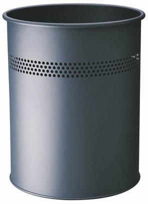 Classic Round Metal Waste Paper Basket 15L with 30mm Decorative Perforation at the top-Slate Grey-Distinct Designs (London) Ltd