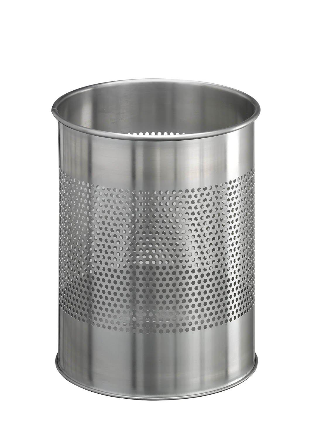 Classic Round Stainless Steel Waste Paper Basket 15L with 165mm Decorative Perforation in the middle-Silver-Distinct Designs (London) Ltd