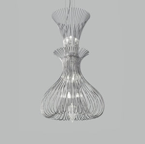 Contemporary Metal Pendant Ceiling Light Vortex Design Double Wire Crafted 60cm diameter 9 Lamps-Distinct Designs (London) Ltd