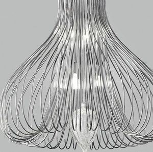Contemporary Metal Pendant Ceiling Light Vortex Design Crafted in wire 40cm diameter with 3 Lamps-Chrome-Distinct Designs (London) Ltd